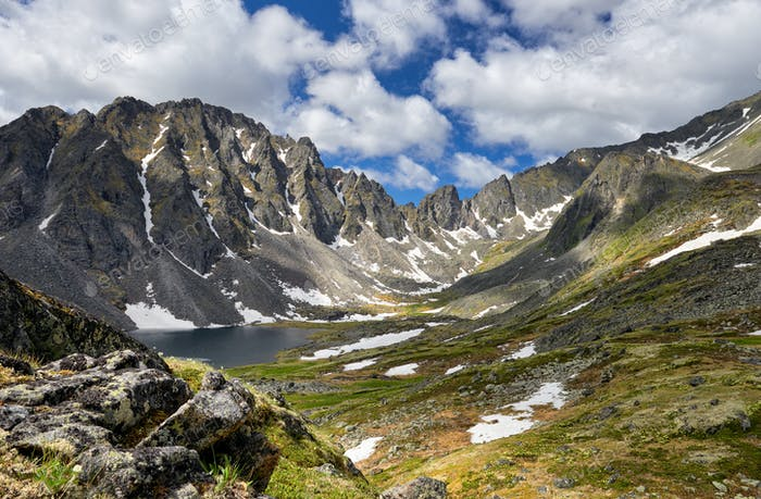 Siberian Mountain Tundra on Summer Afternoon