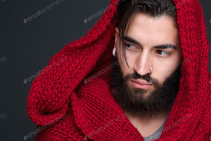 Handsome young man with scarf