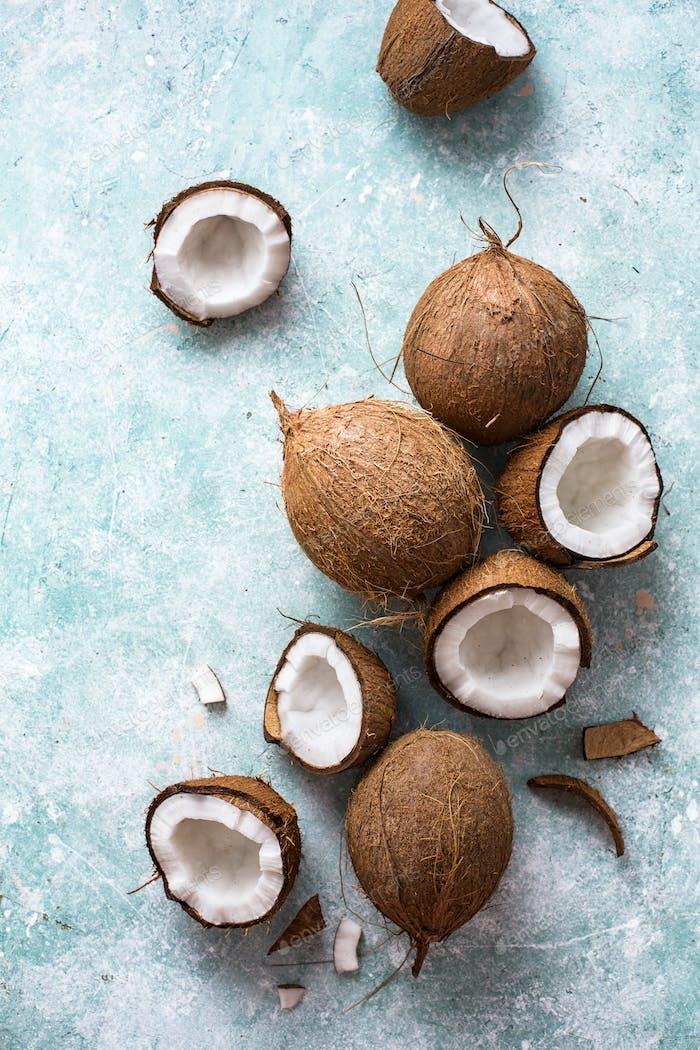 Fresh coconuts with coconut halves