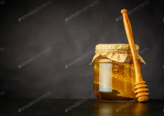 Copy Space of Honey Jar with Dripper