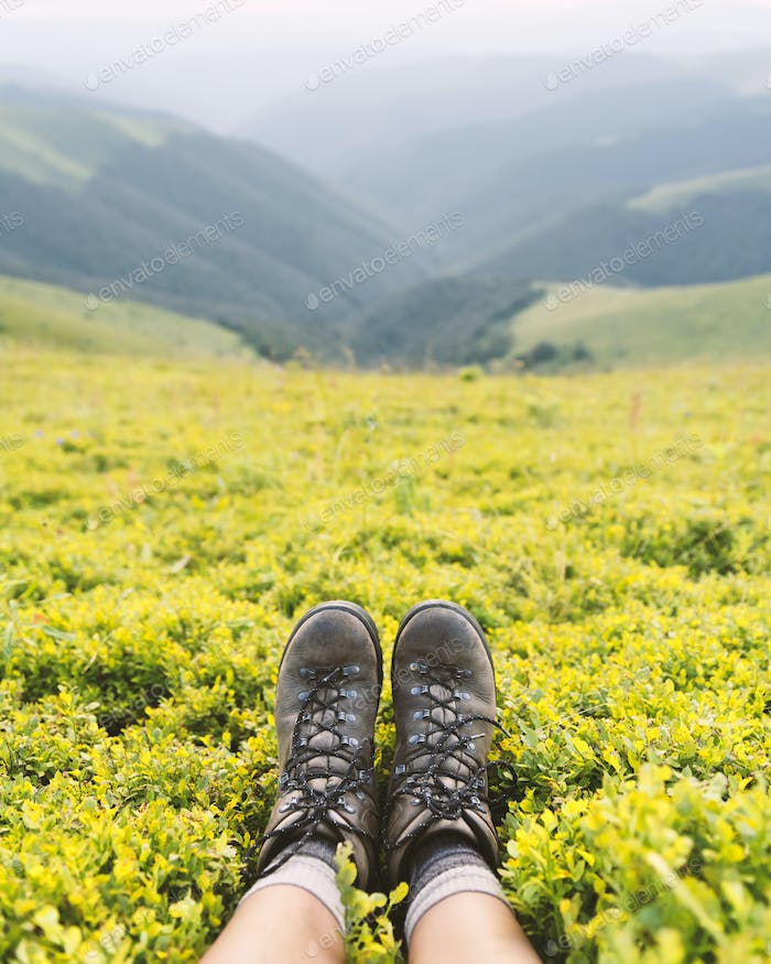 Boots of lonely tourist on lush blueberry bushs