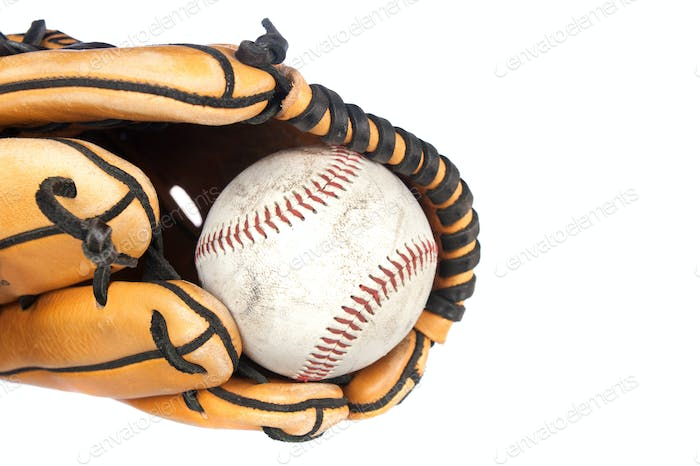 Baseball and glove on white background