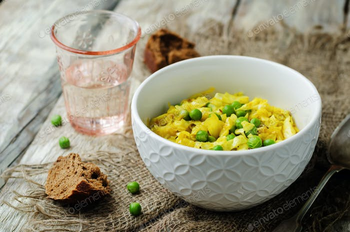 Spicy cabbage with green peas. Indian cuisine