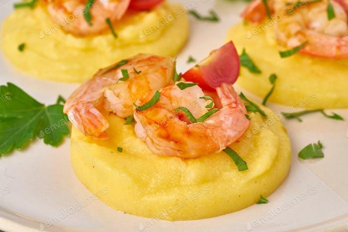 Shrimp Polenta - fodmap dash diet gluten free dish, side view