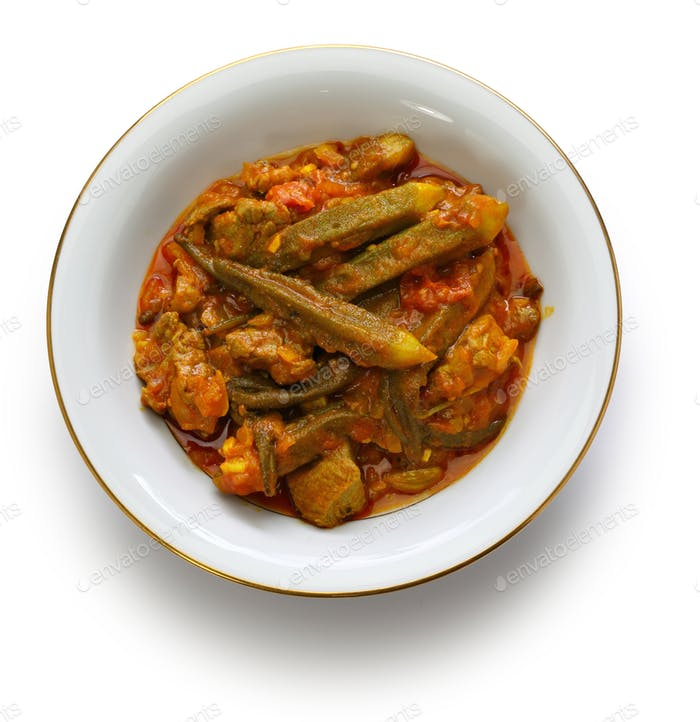 khoresh bamieh, iranian okra stew isolated on white background