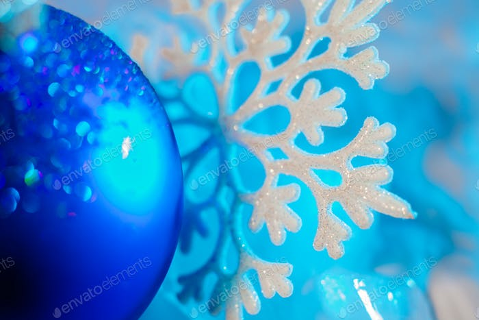 winter snowflake and christmas ball ornament