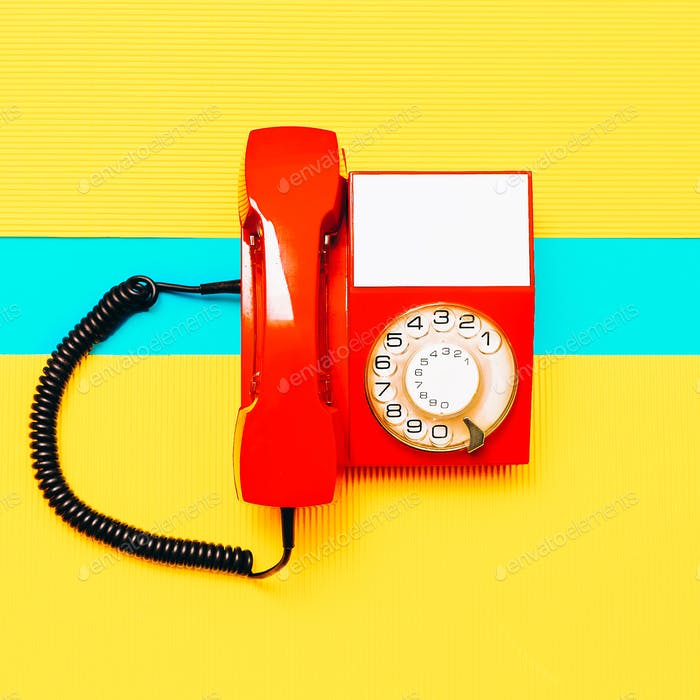 Retro Red Phone. Minimal art design Vintage vibes