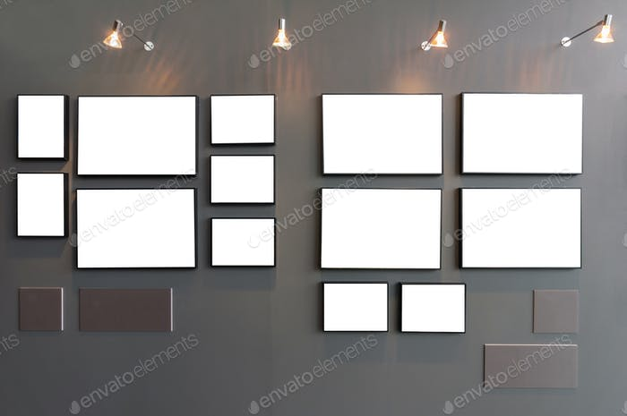 Empty Photo frames gallery on wall