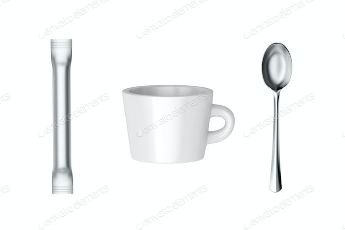 Coffee cup and sachet and spoon