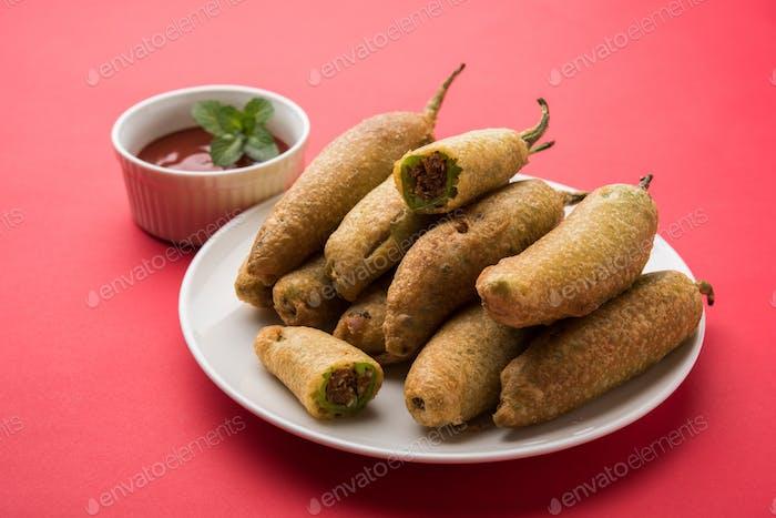 Green Chilli Pakora / Mirchi Pakoda / Mirchi Bajji