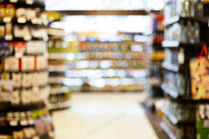 Blurred Supermarket Background, Aisles With Food And Drinks On Aisles