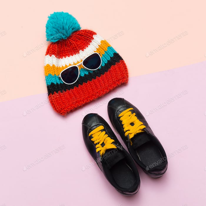Top view Cap Hat Keds Hipster trend style. Spring Casual Urban A