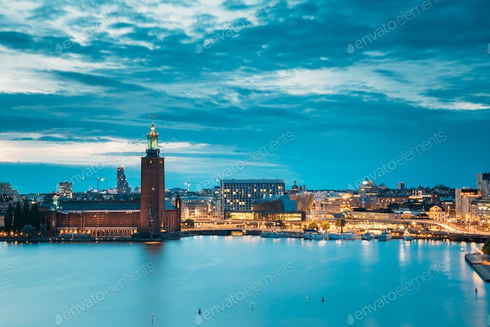 Stockholm, Sweden. Scenic Skyline View Of Famous Tower Of Stockh