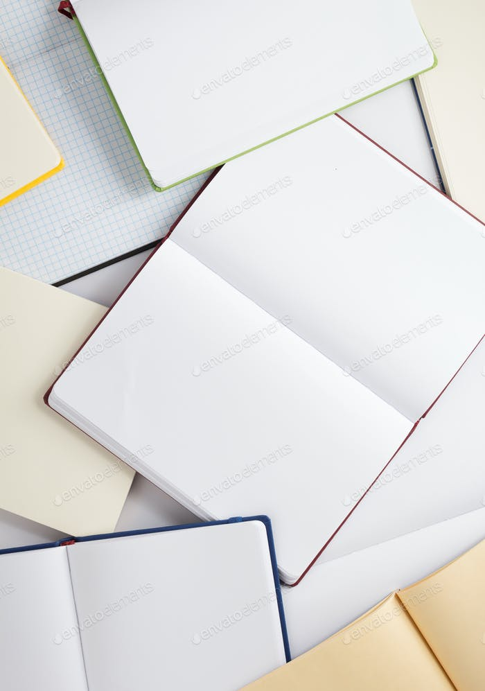 open notebook or book blank pages