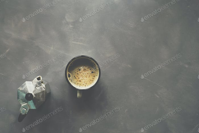 Coffee on cement background