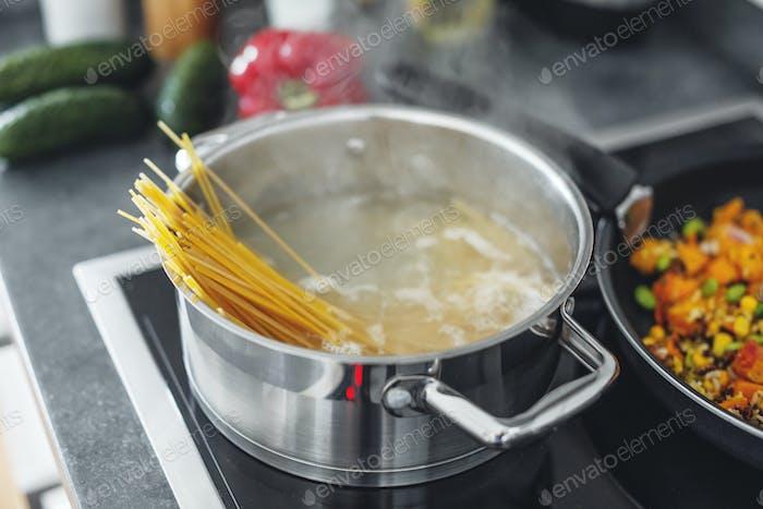 Boiling pasta spaghetti in pot