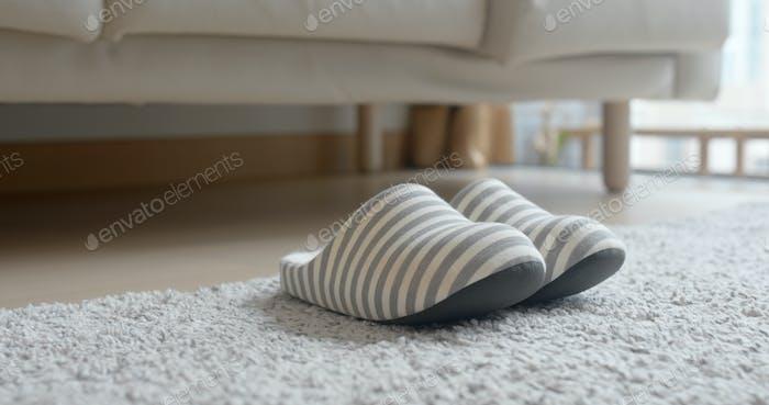 Grey slipper on carpet at home