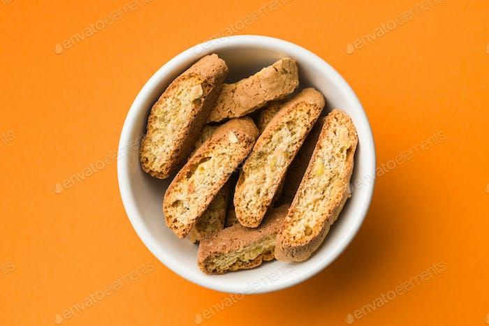 Sweet cantuccini biscuits. Italian biscotti.
