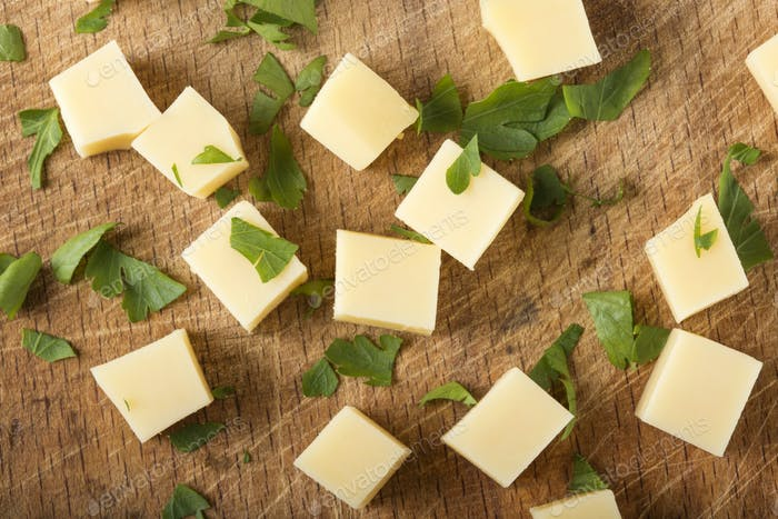 Cubes of fresh cheese