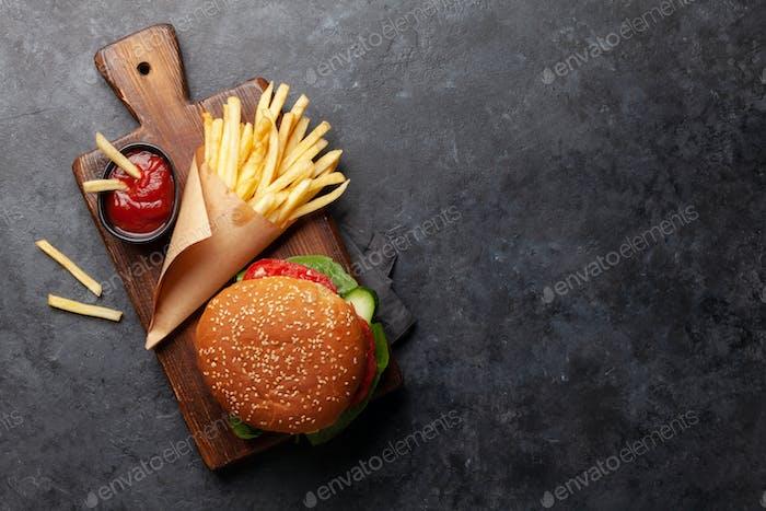 Potato fries and hamburger