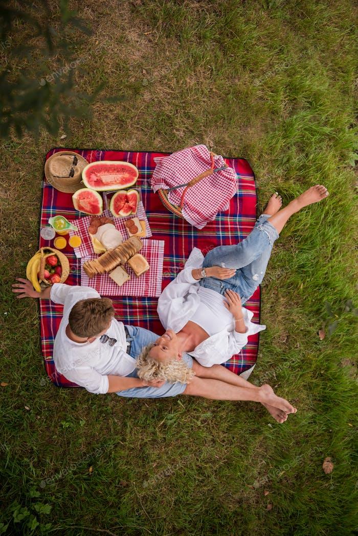 vista superior de pareja disfrutando de picnic Tiempo