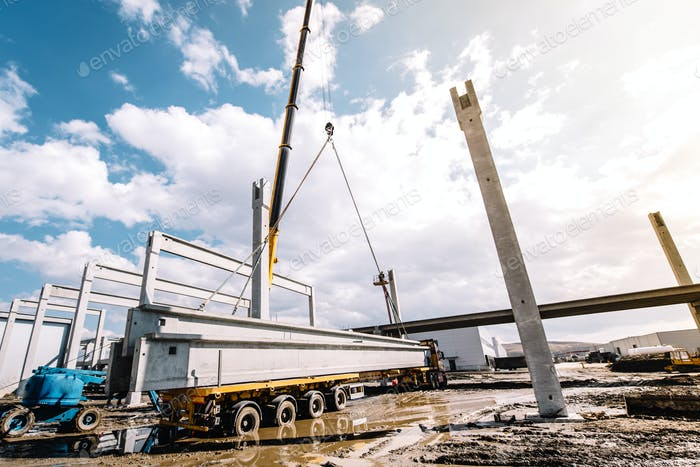 crane lifting prefabricated concrete framework, unloading and cargo details