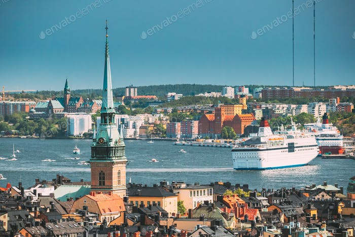 Stockholm, Sweden. Scenic View Of Skyline At Summer Day. Elevated View Of German St Gertrude's
