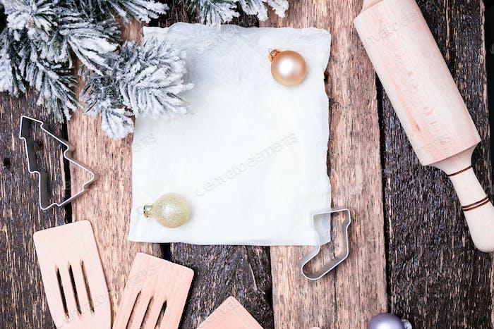 Christmas menu plan. Background for writing the Christmas menu. Top view