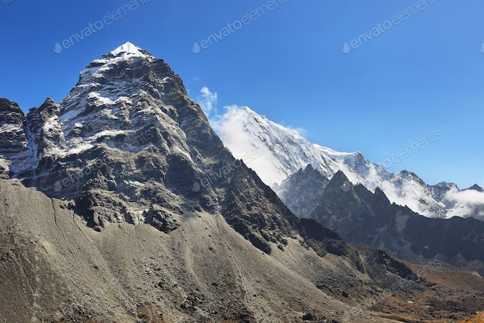 Views after crossing Cho La pass in Everest region, Nepal