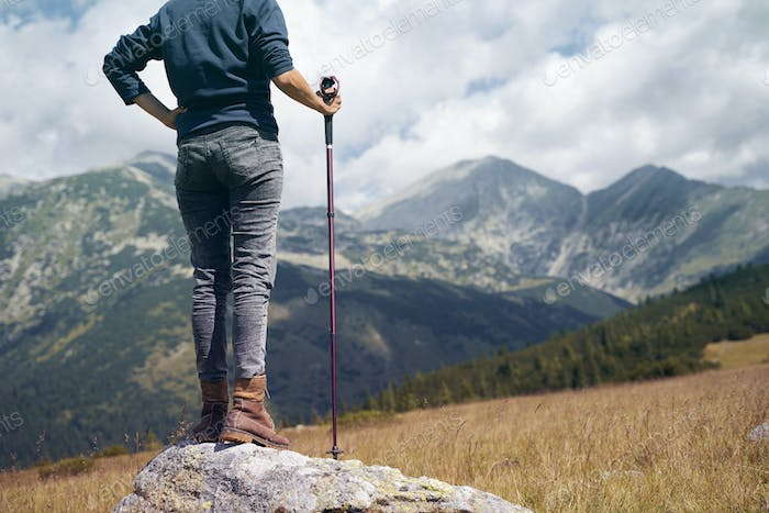 rear view of woman with hiking stick looking at the mountains