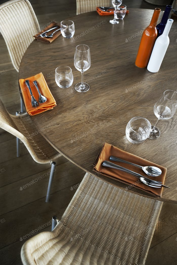 Table set and furniture in a restaurant