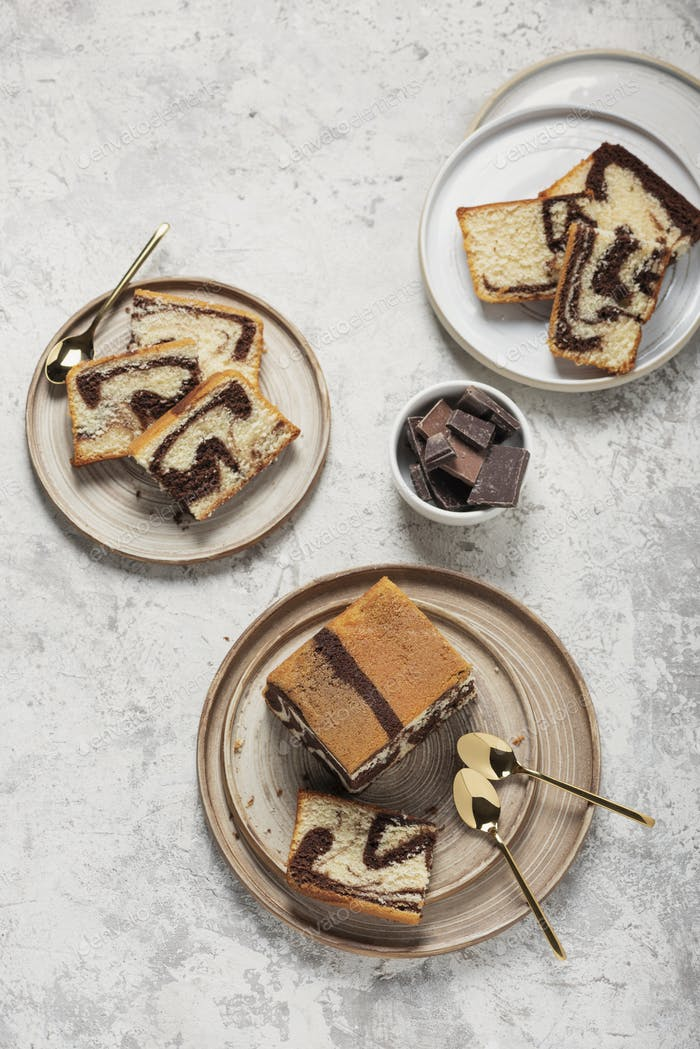 Sweet marble cake with chocolate