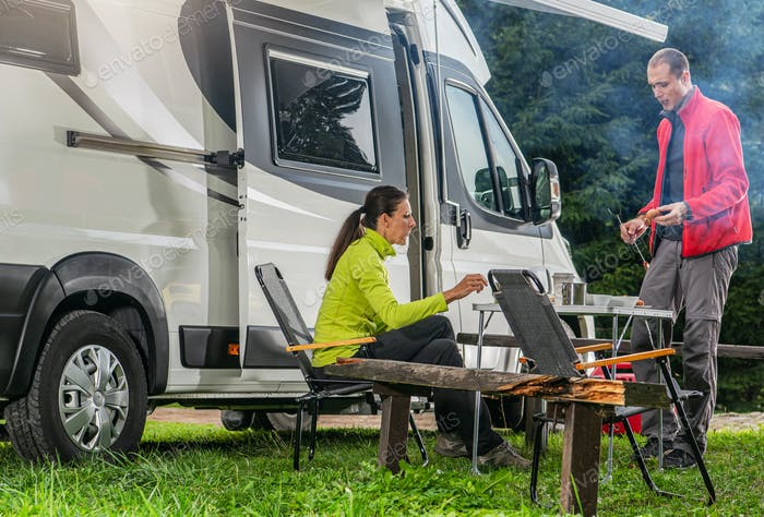 Recreational Vehicle RV Camper Van Road Trip with Camping