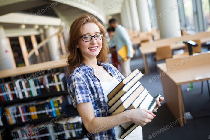 Book lover ready to study hard