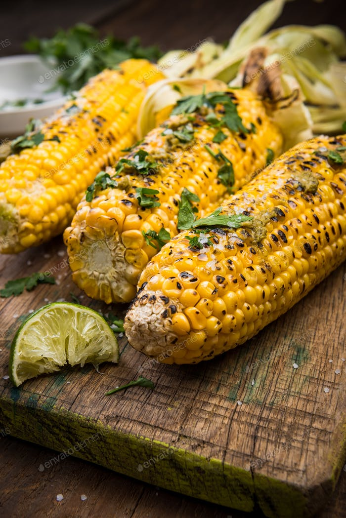 Grilled BBQ Corn, American Picnic Food