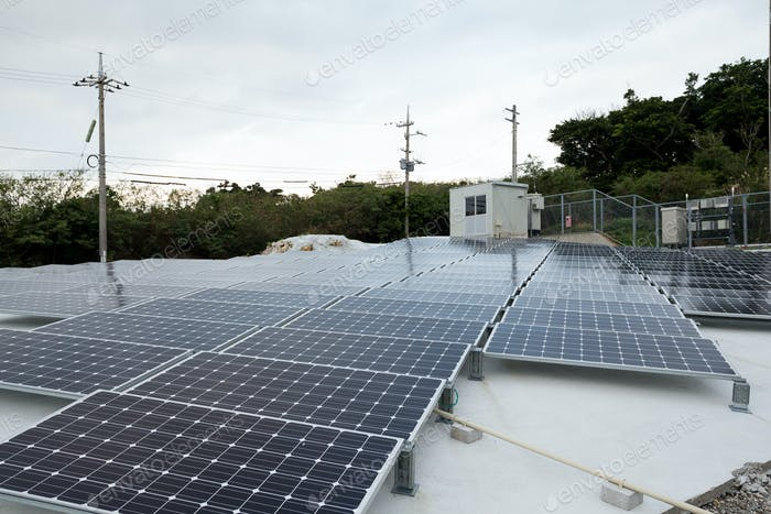 Solar power energy panel on roof top