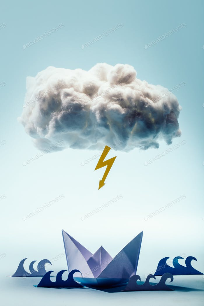 Paper boat and waves beneath a cloud and bolt.