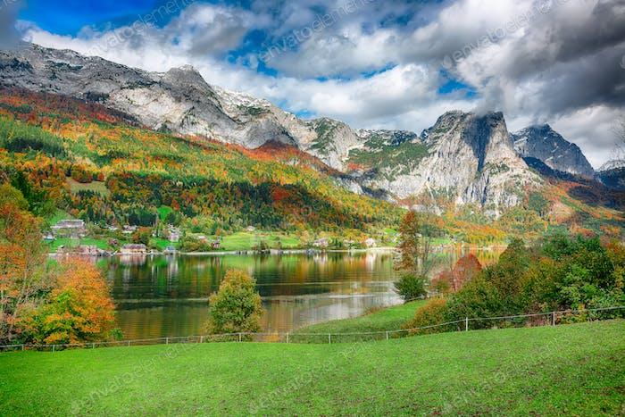 Idyllic autumn scene in Grundlsee lake.