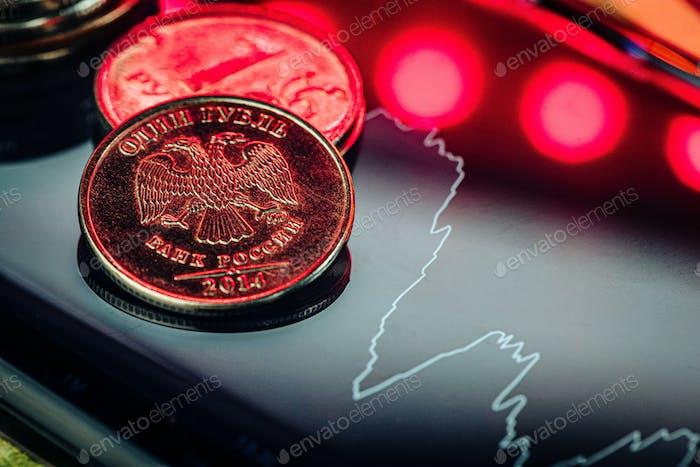 Rublo gráfico de intercambio en las bolsas internacionales.Crisis en la economía rusa