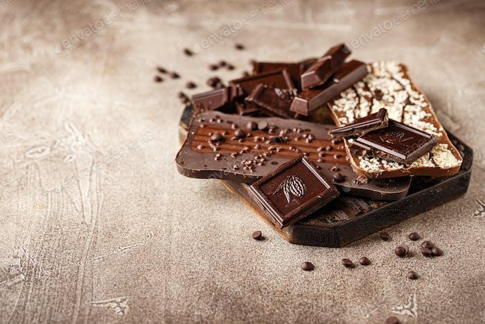 Nahaufnahme von Schokoladenstücken
