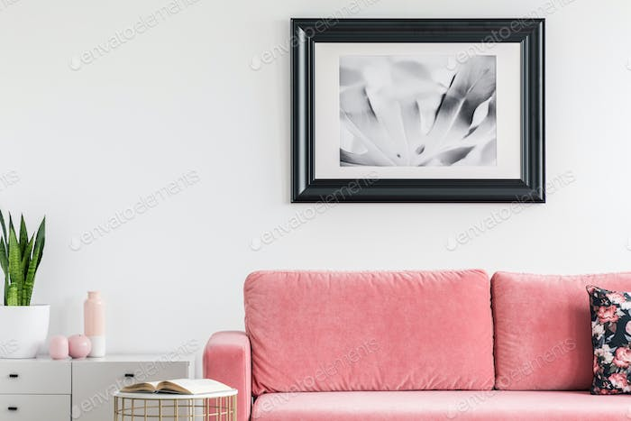 Plant on cabinet next to pink settee in white living room interi