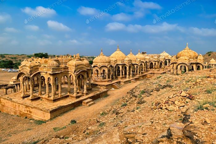 Bada Bagh cenotaphs Hindu tomb mausoleum . Jaisalmer, Rajasthan, India