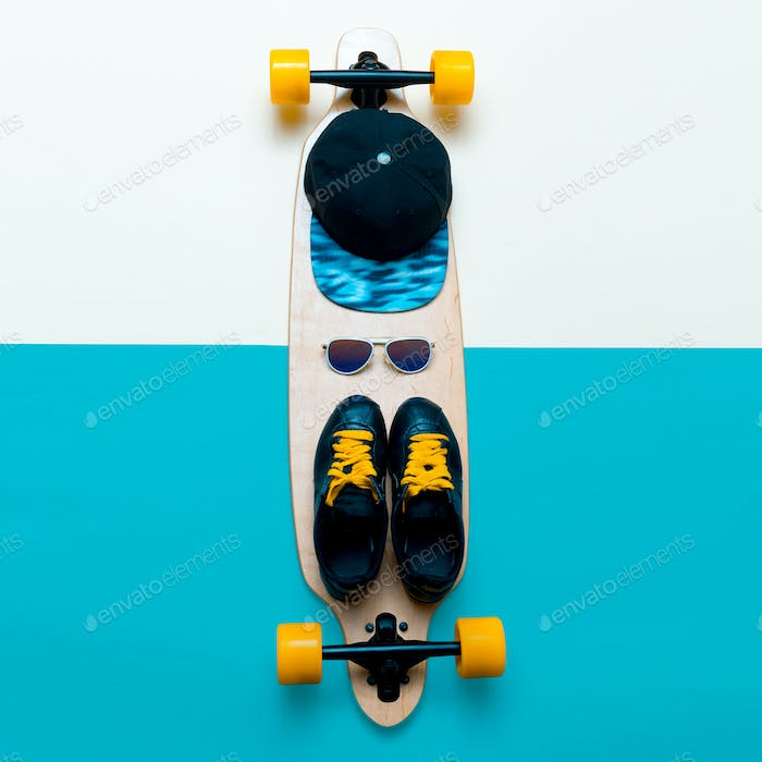 Set skateboarder. Stylish active life. Sneakers, sunglasses, ska