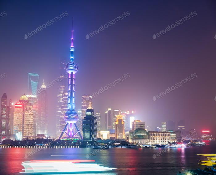 shanghai in mist night