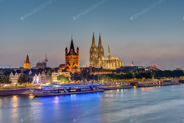 The skyline of Cologne with the river Rhine and the cathedral