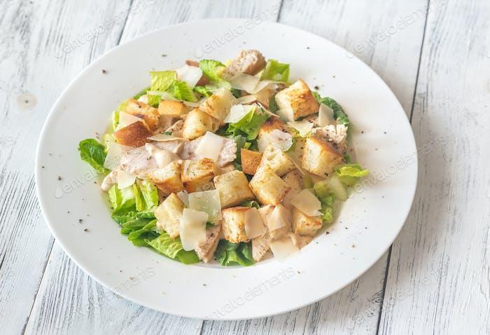 Portion of Caesar salad