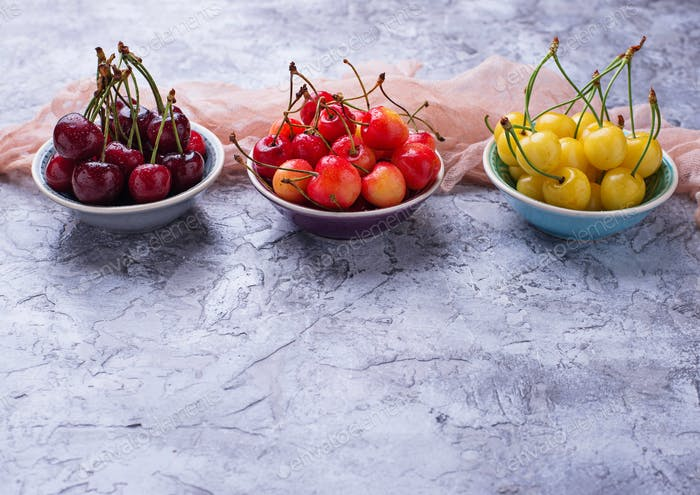 Different type of colorful cherries