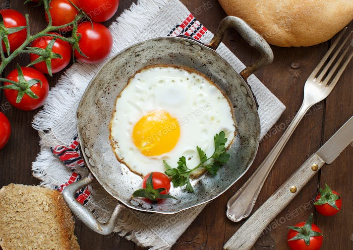 Fried egg on an old frying pan