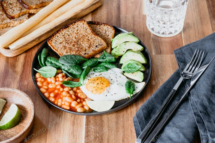Healthy breakfast or lunch at home or cafe