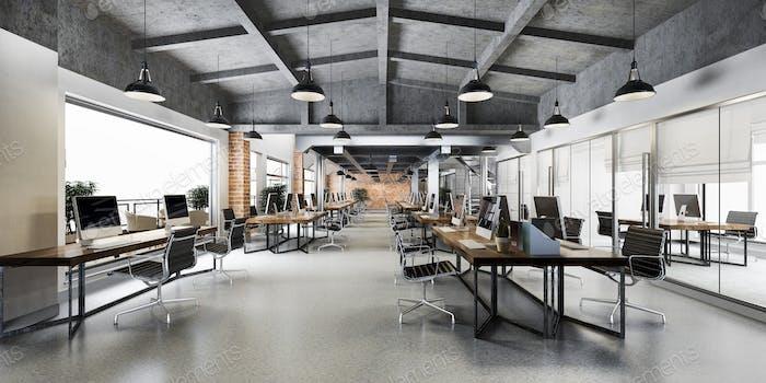 3d рендеринг бизнес-встреча и рабочая комната на промышленном стиле лофт офисный склад